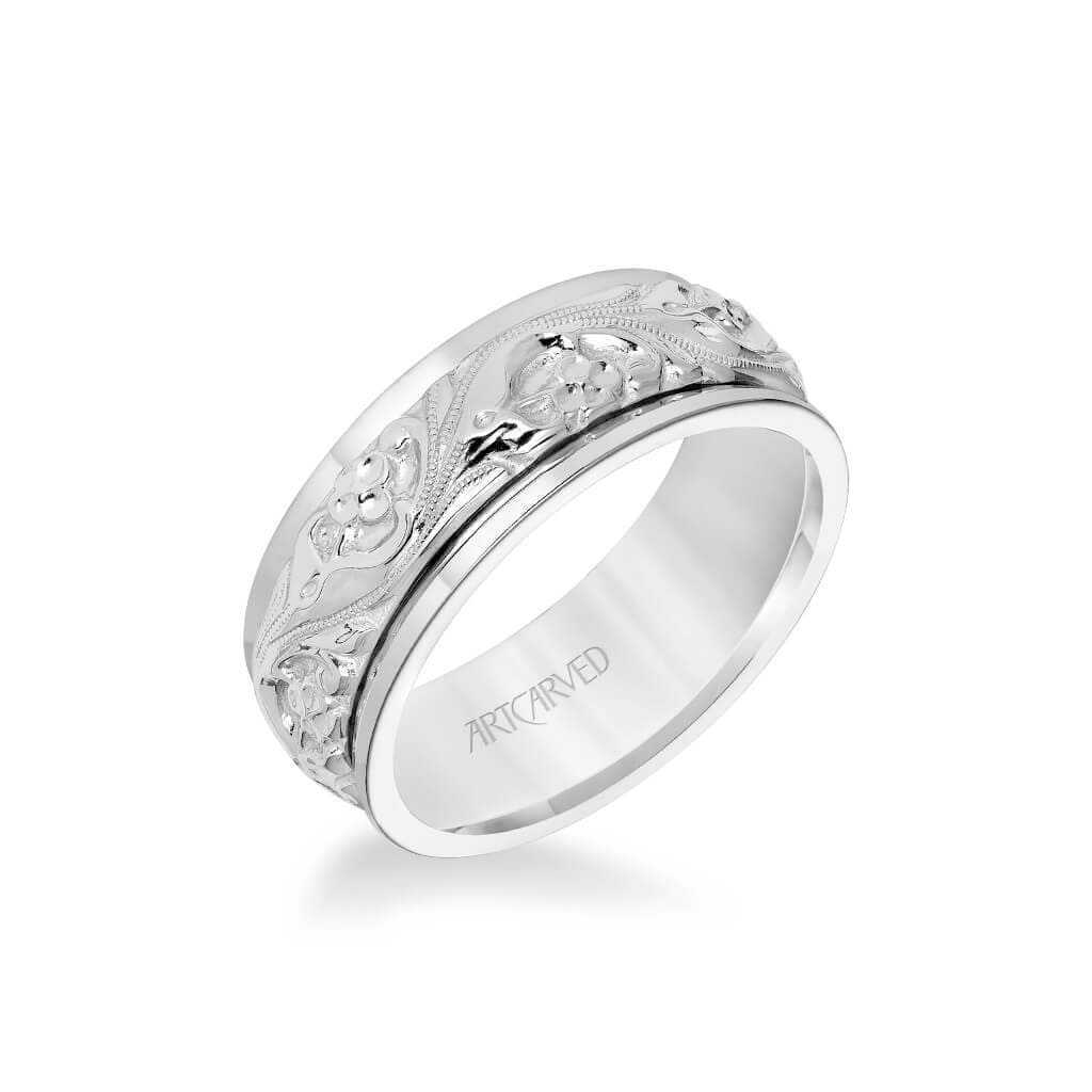 8MM Men's Wedding Band - Intricate Engraved Scroll Design and Round Edge