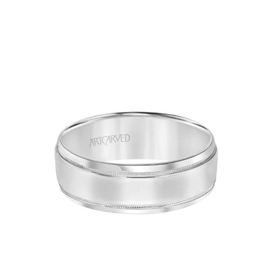 5.5MM Men's Wedding Band - High Polish Finish with Milgrain Detail and Bevel Edge