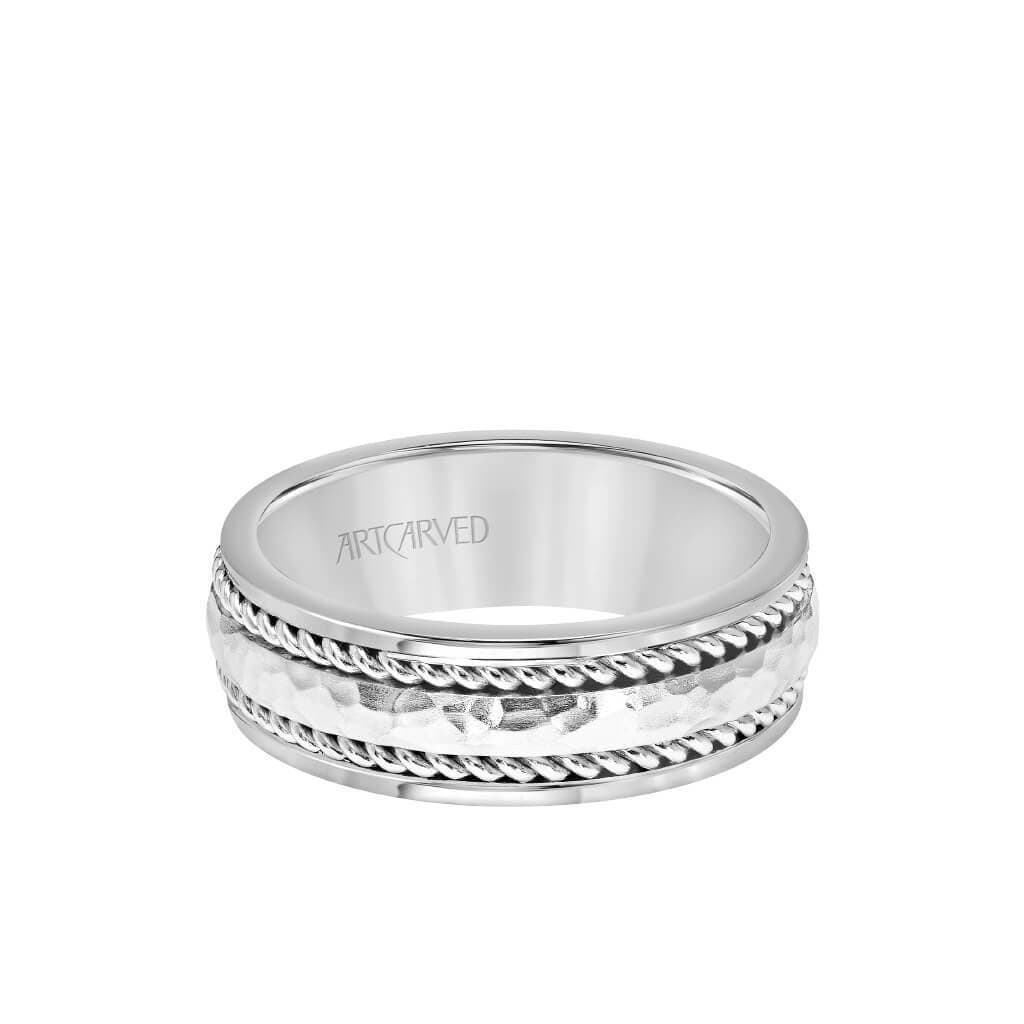 7.5MM Men's Wedding Band - Hammered Finish with Rope Design and Rolled Edge