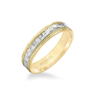 5MM Men's Wedding Band - Engraved Design with Rope Detailing and Rolled Edge