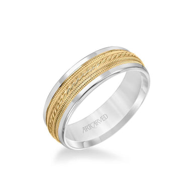 7MM Men's Wedding Band - Rope and Milgrain Center and Round Edge