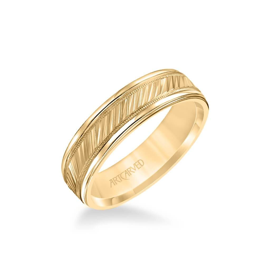 6MM Men's Classic Wedding Band - Diagional Swiss Cut Engraved Design with Milgrain and Round Edge