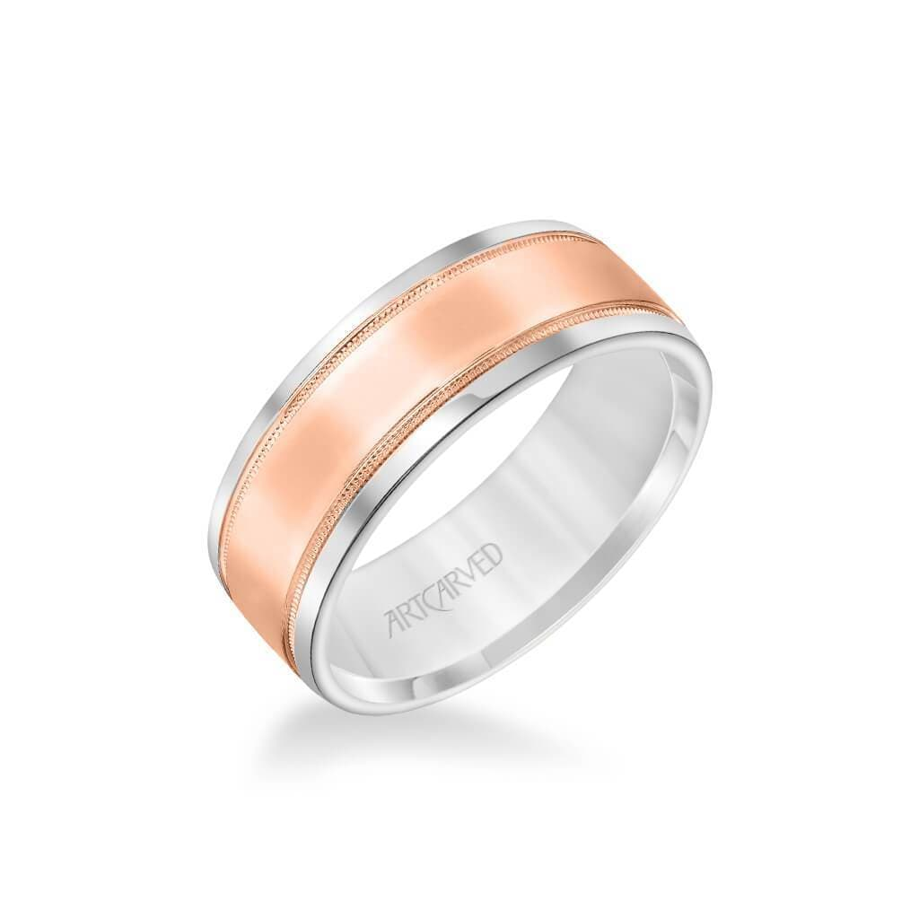 7.5MM Men's Classic Polished Wedding Band - Polished Finish with Milgrain Detail and Round Edge