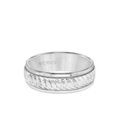 7MM Men's Classic Wedding Band - Swiss Cut Engraved Design with Milgrain and Round Edge