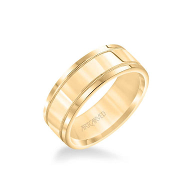 8MM Men's Classic Polished Wedding Band - Polished Finish with Milgrain Detail and Round Edge