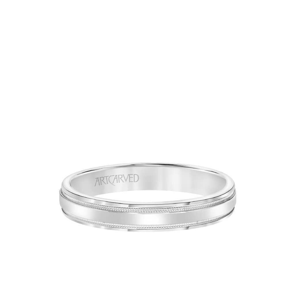 6.5MM Men's Wedding Band - High Polished Finish with Milgrain Detail and Bevel Edge