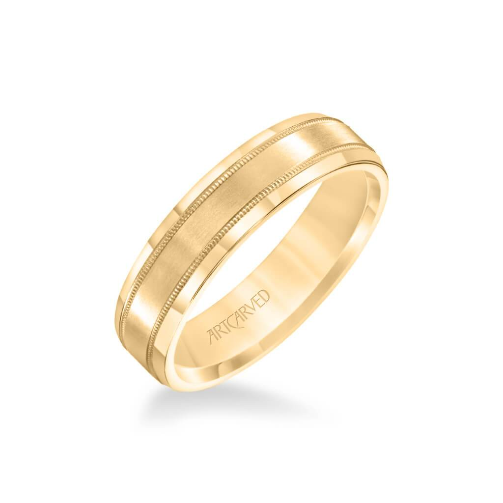 6.5MM Men's Wedding Band - High Polished Finish with Milgrain and Bevel Edge