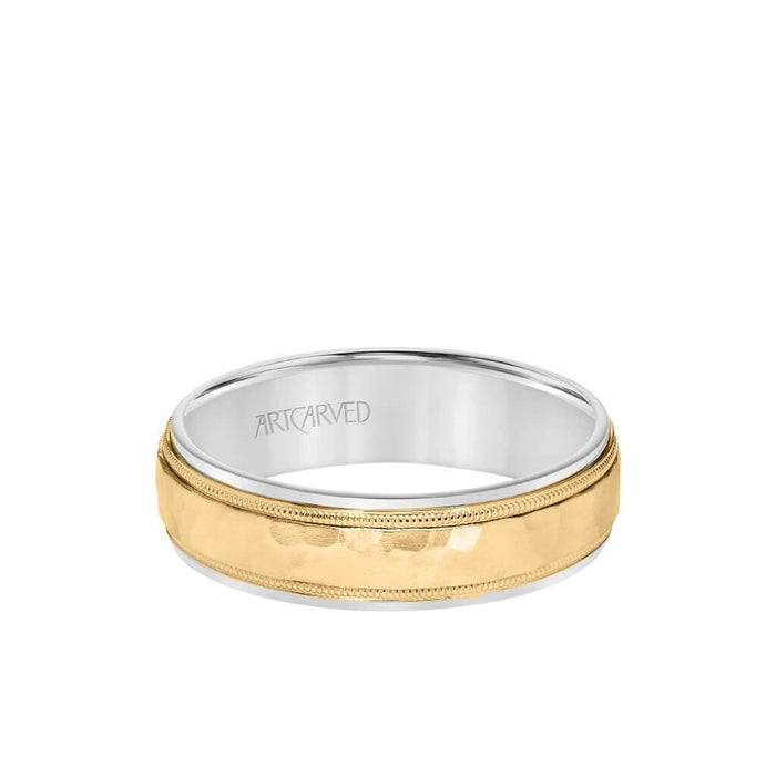 6MM Men's Classic Two Tone Wedding Band - Hammered Finish with Milgrain Detail and Step Edge