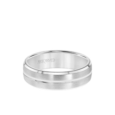 6.5MM Men's Wedding Band - Brush Finish with Polished Center Line and Bevel Edge
