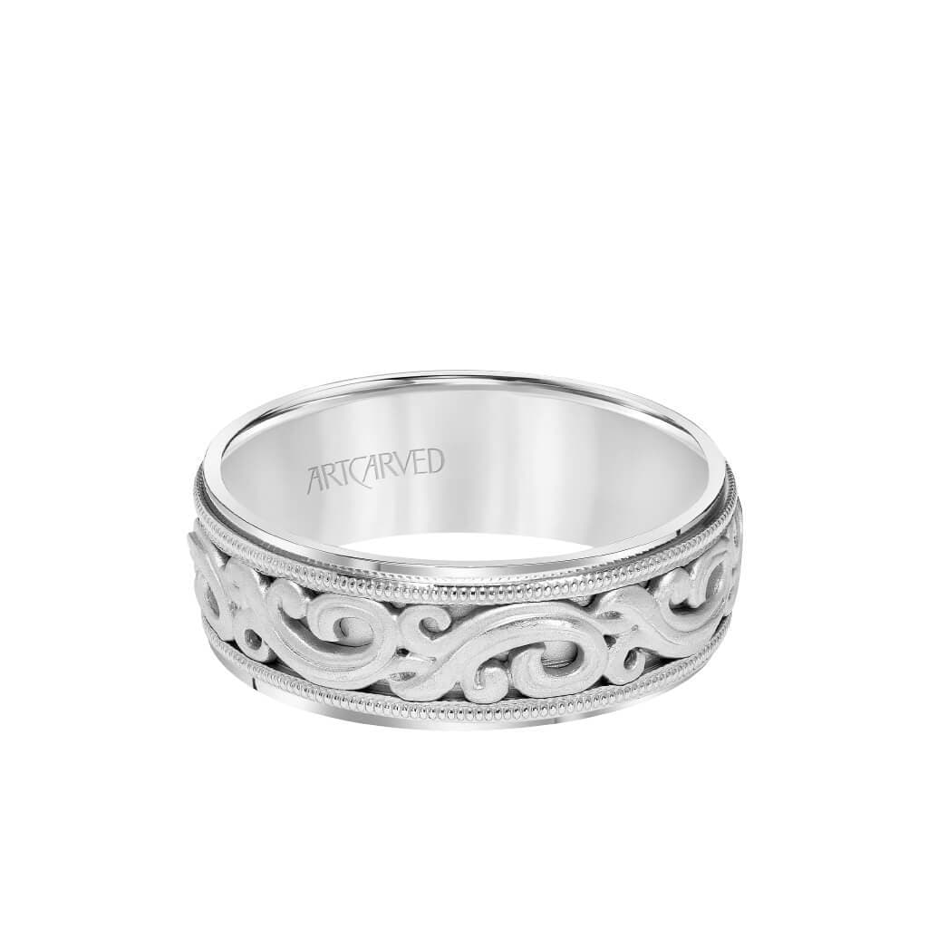7.5MM Men's Wedding Band - Intricated Engraved Open Scroll Design with Milgrain and Flat Edge