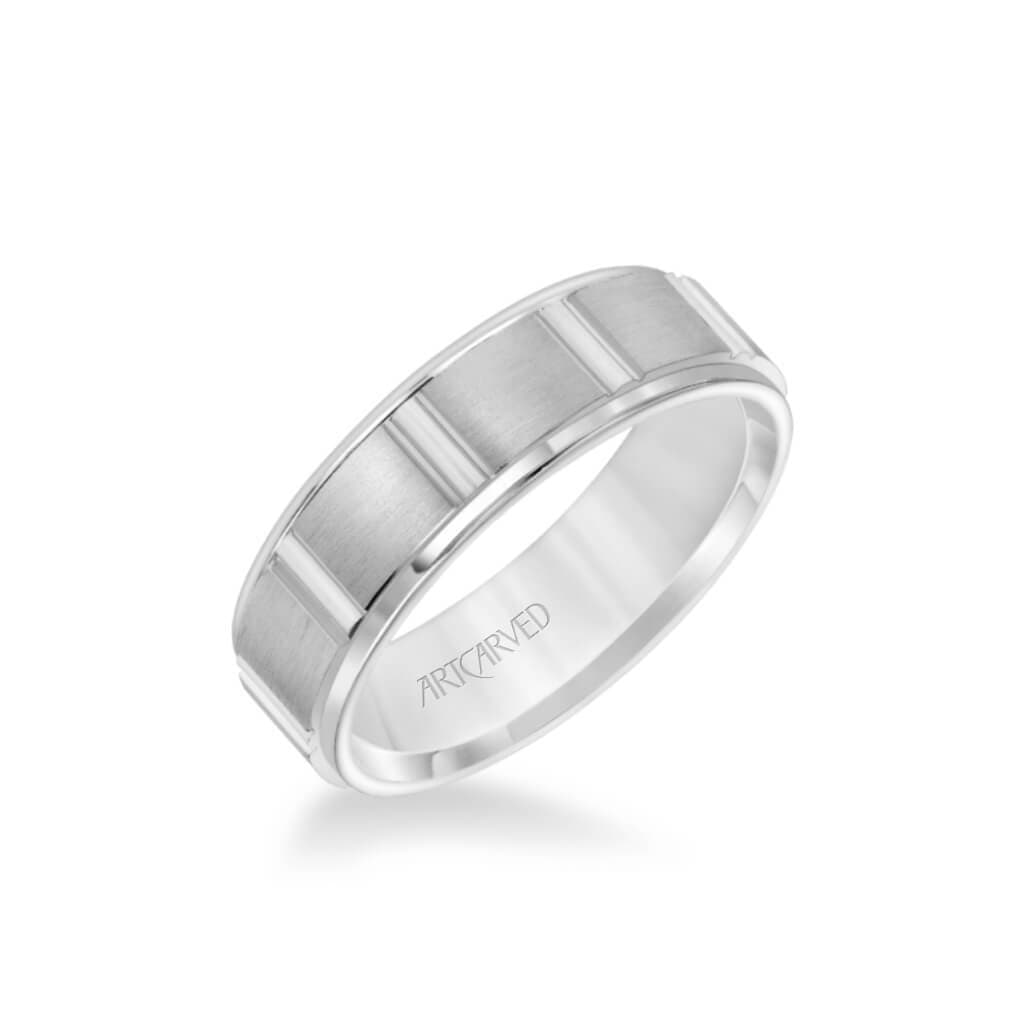 6.5MM Men's Wedding Band - Brush Finish with Geometric Design and Round Edge