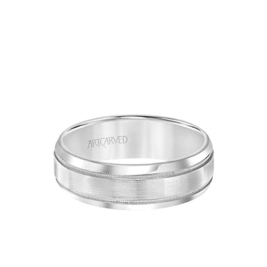 7MM Men's Classic Wedding Band - Brush Finish with Milgrain Detail and Rolled Edge