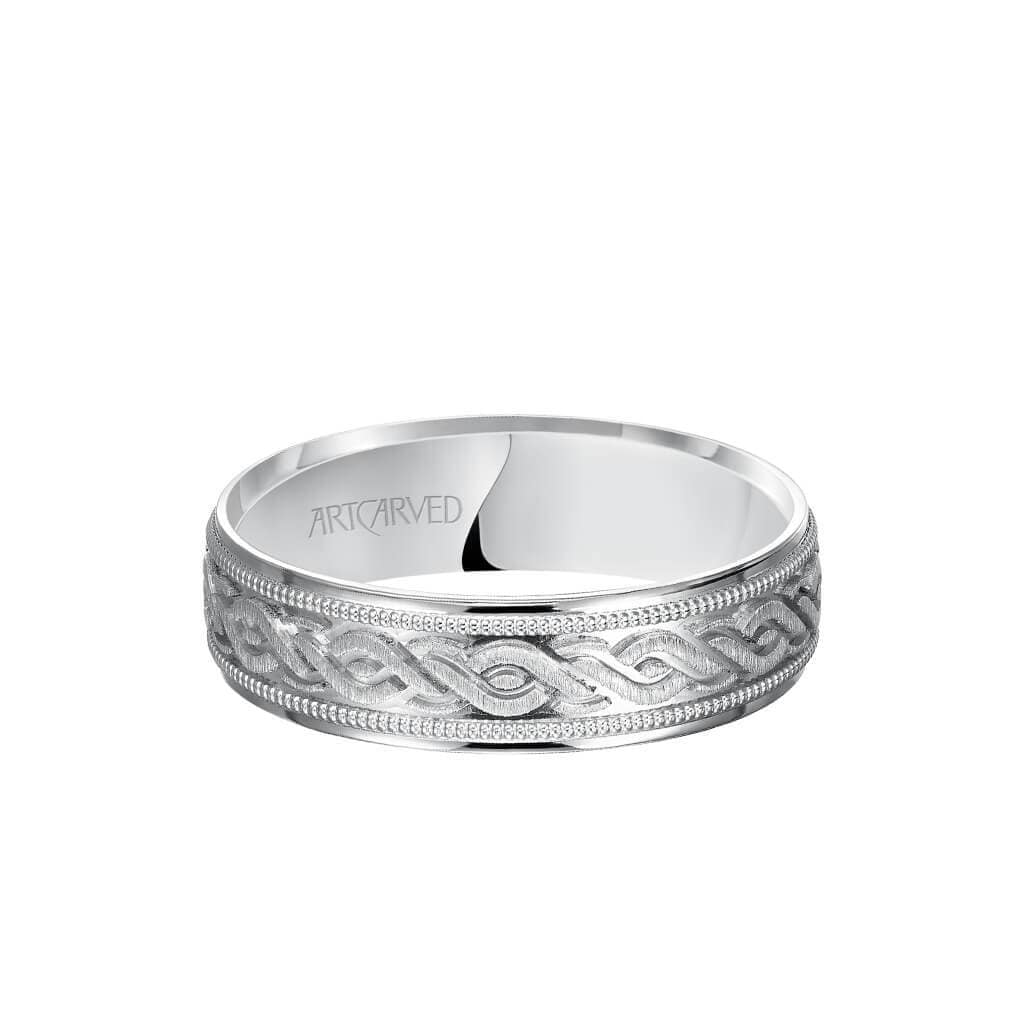 6MM Men's Wedding Band - Engraved Center with Milgrain Detail and Flat Edge