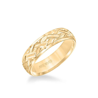 6MM Men's Classic Wedding Band - Criss-Cross Swiss Cut Engraved Design and Step Edge