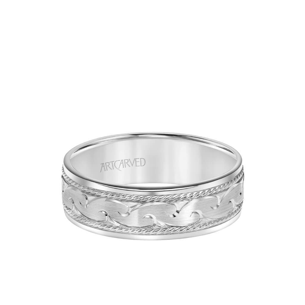 7MM Men's Wedding Band - Engraved Design with Rope Detailing and Flat Edge