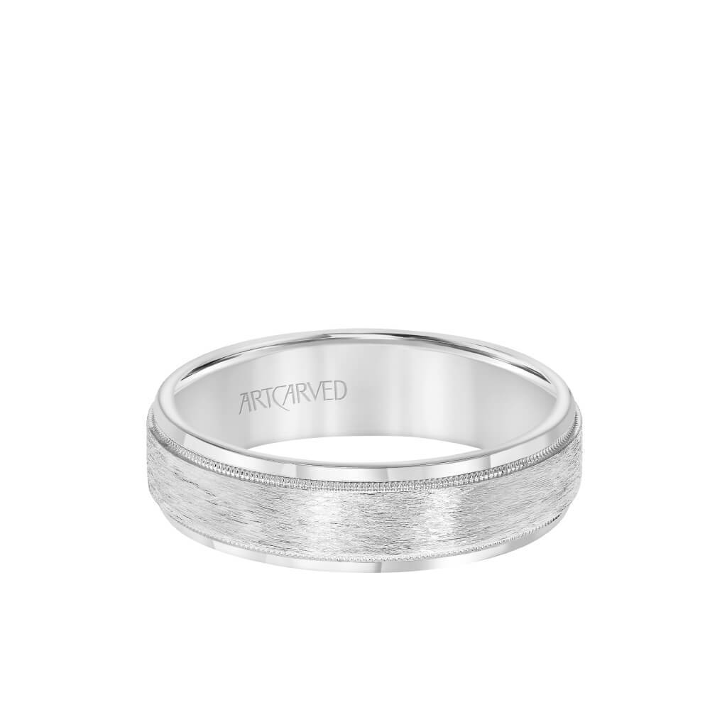 6MM Men's Wedding Band - Crystalline Finish with Milgrain and Bevel Edge