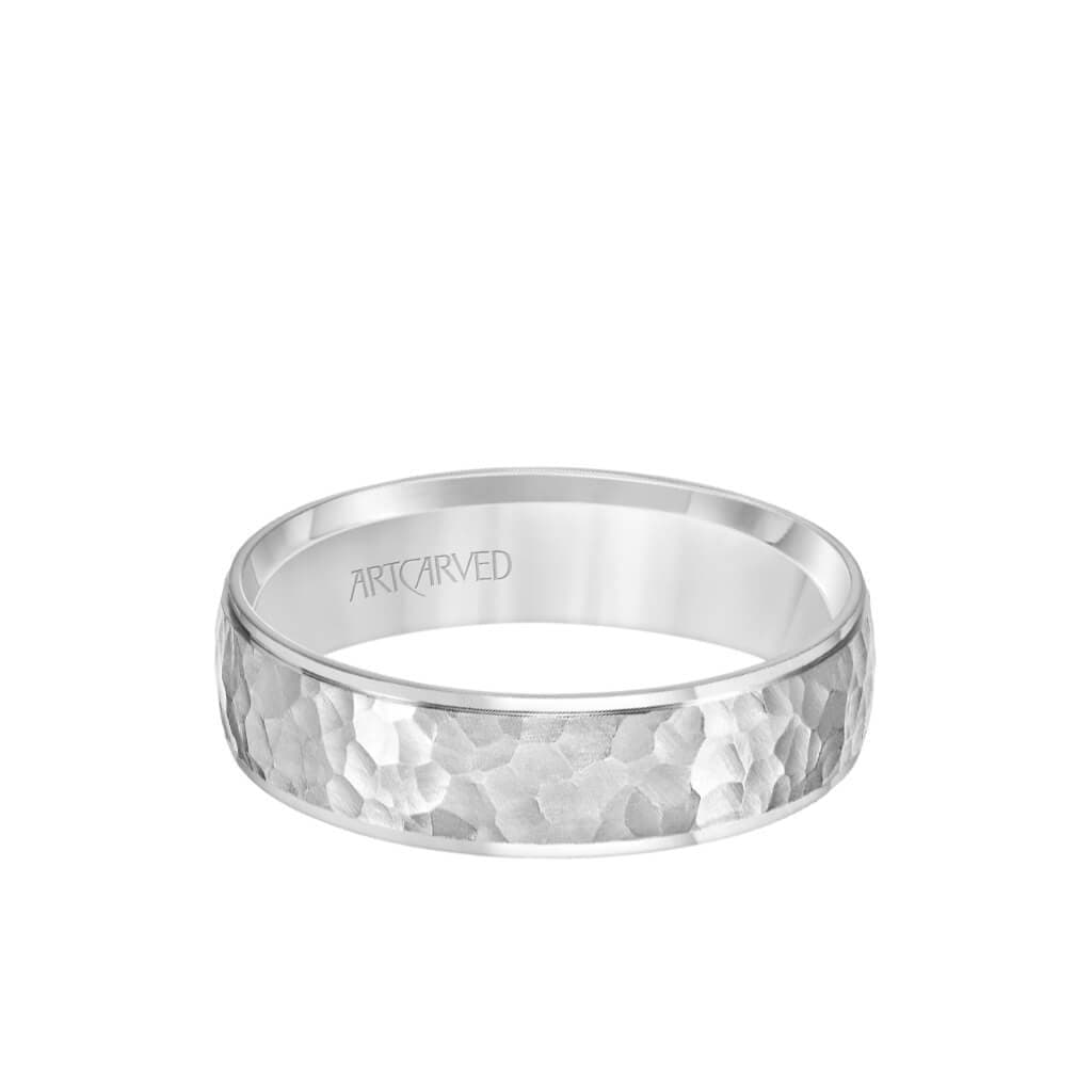 6MM Men's Classic Wedding Band - Hammered Finish and Step Edge