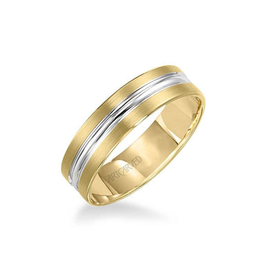 6MM Men's Wedding Band - Satin and Polished Finish and Bevel Edge