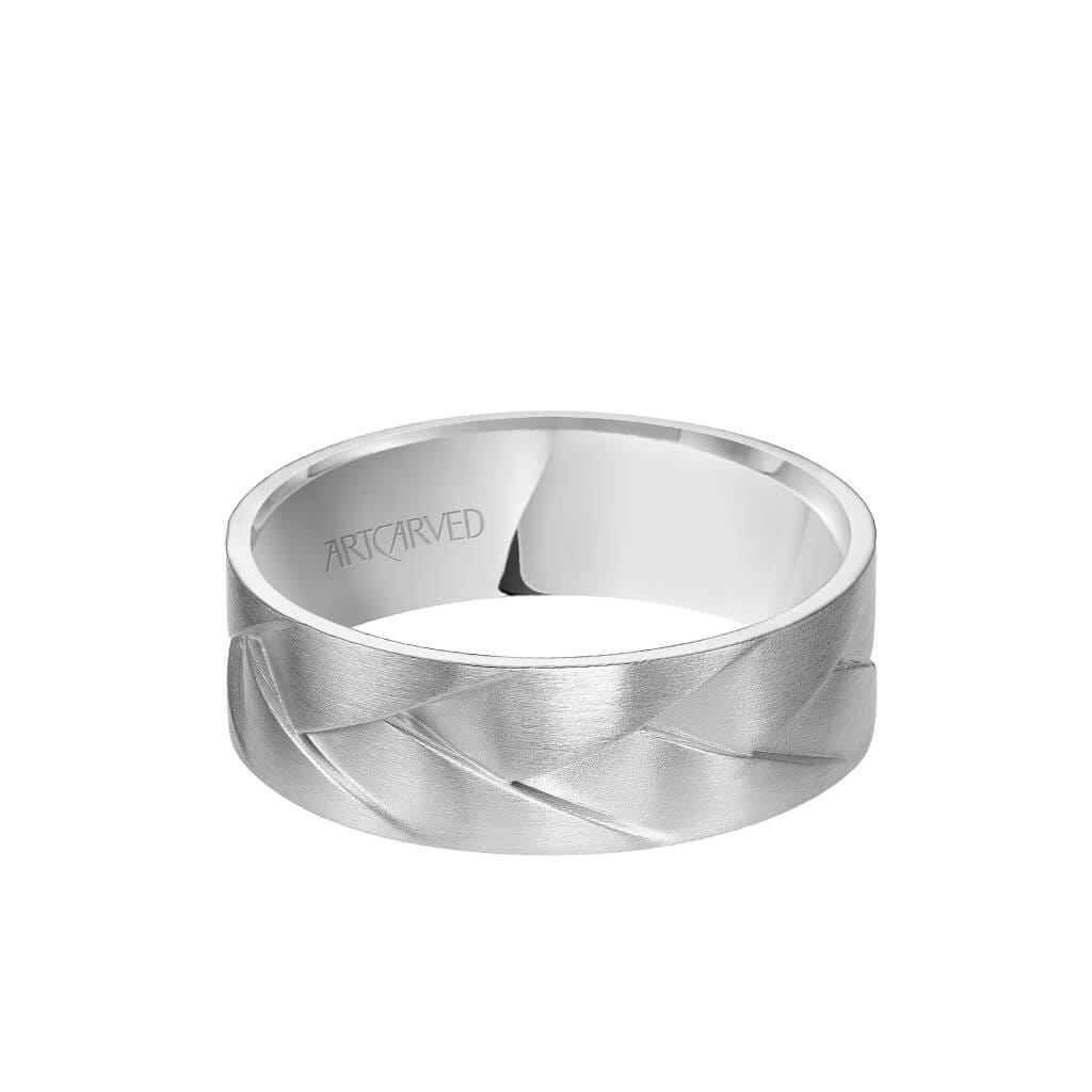 7MM Men's Wedding Band - Intertwined Woven Design with Satin Finish