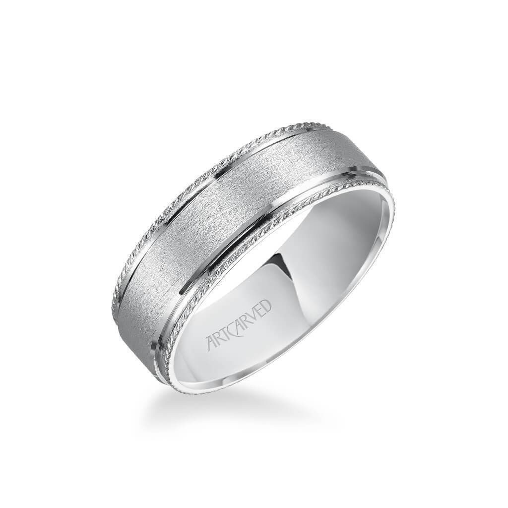 7MM Men''s Wedding Band - Wire Finish and Rope Edge
