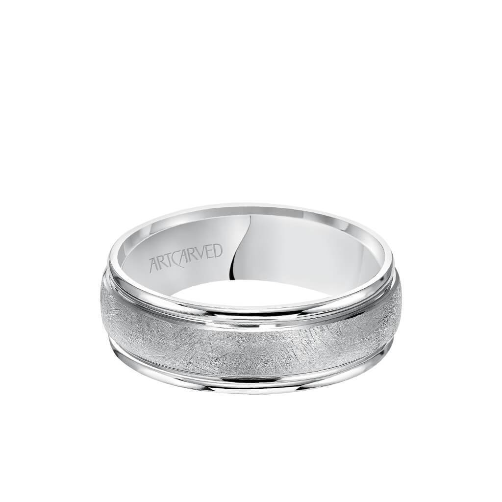 7.5MM Men's Classic Wedding Band - Domed Crystalline Finish and Flat Edge