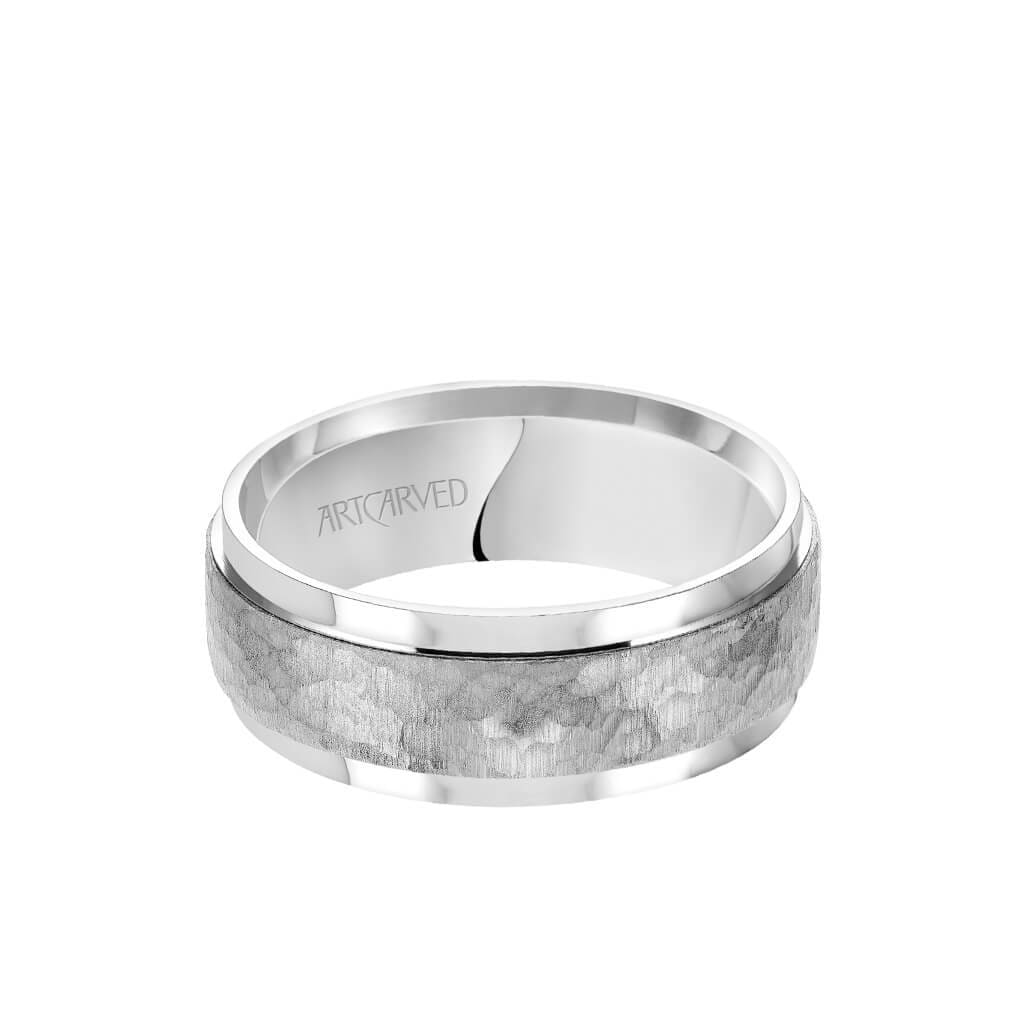 8MM Men's Classic Wedding Band - Brush Hammered Finish and Flat Edge