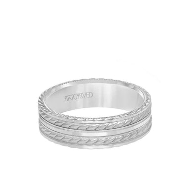 6.5MM Men's Wedding Band - Soft Sand and Bright Finish Flat Edge, rope and Milgraining treatment on top and sides