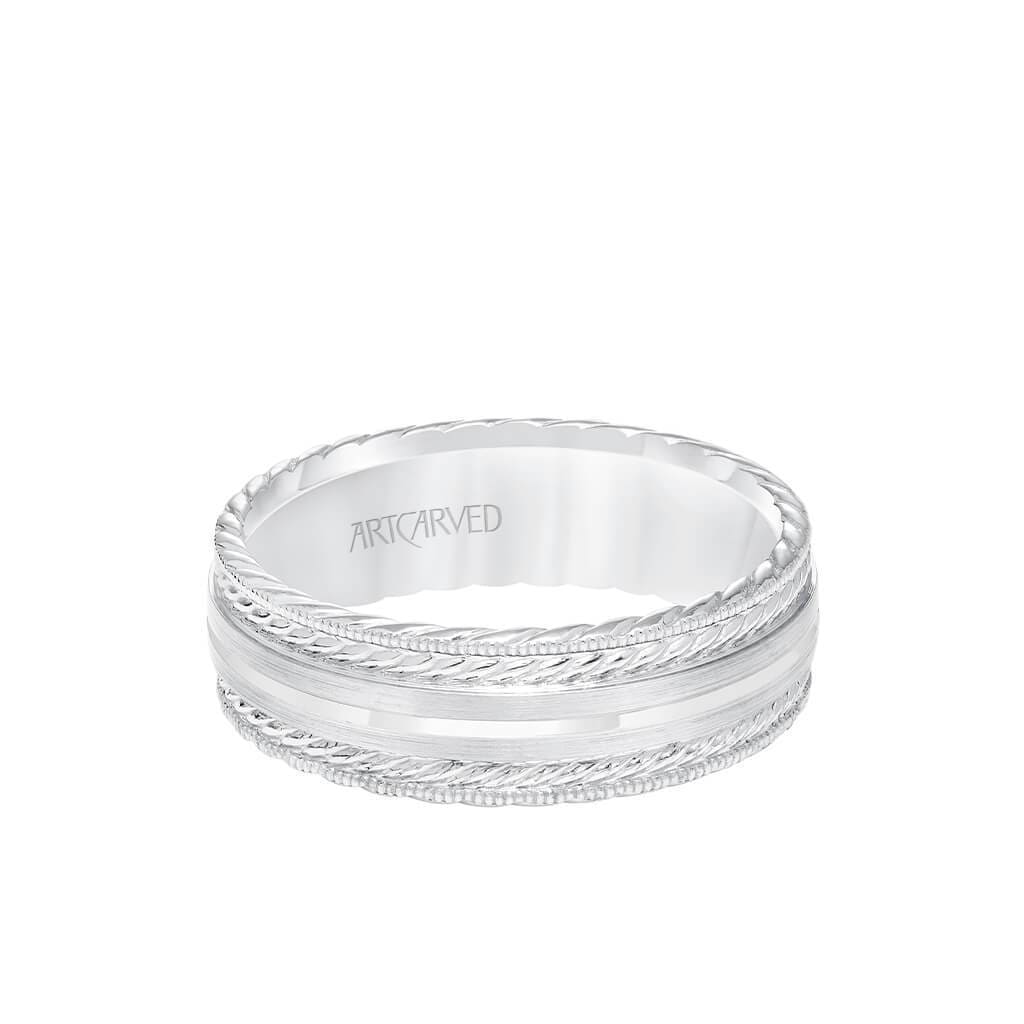 7MM Men's Wedding Band - Satin Finish with Rope Details and Milgrain and Rope Edge