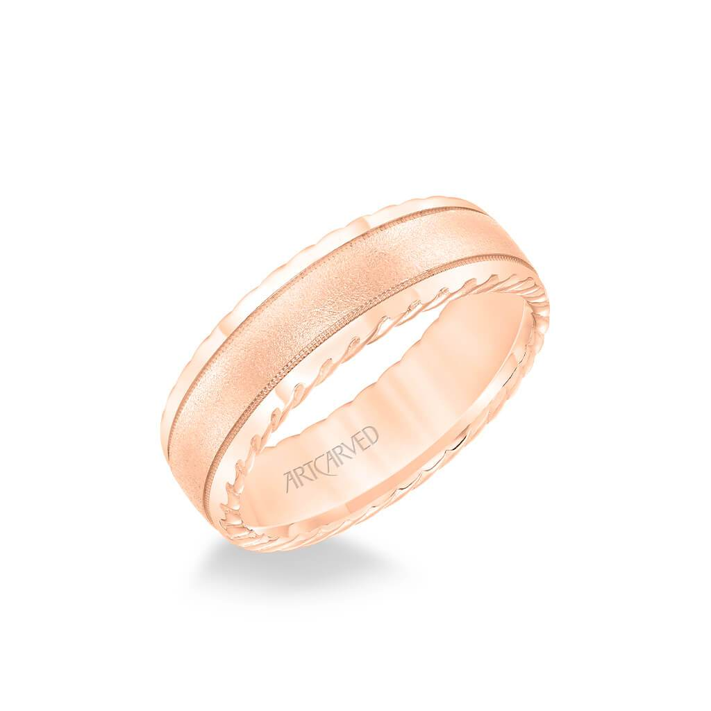 7MM Men's Wedding Band - Soft Sand Finish and Round Edge with Rope Detail and Milgrain Accents