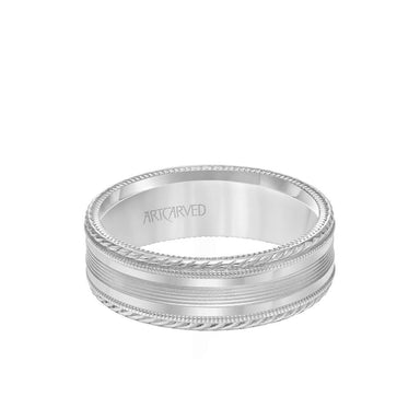 7MM Men's Wedding Band - Bright Brush Finish with Milgrain Accents and Serrated and Rope Edge