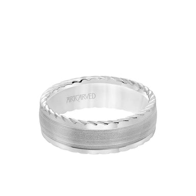 7MM Men's Wedding Band - Serrated Finish with Round Edge with Rope Detail