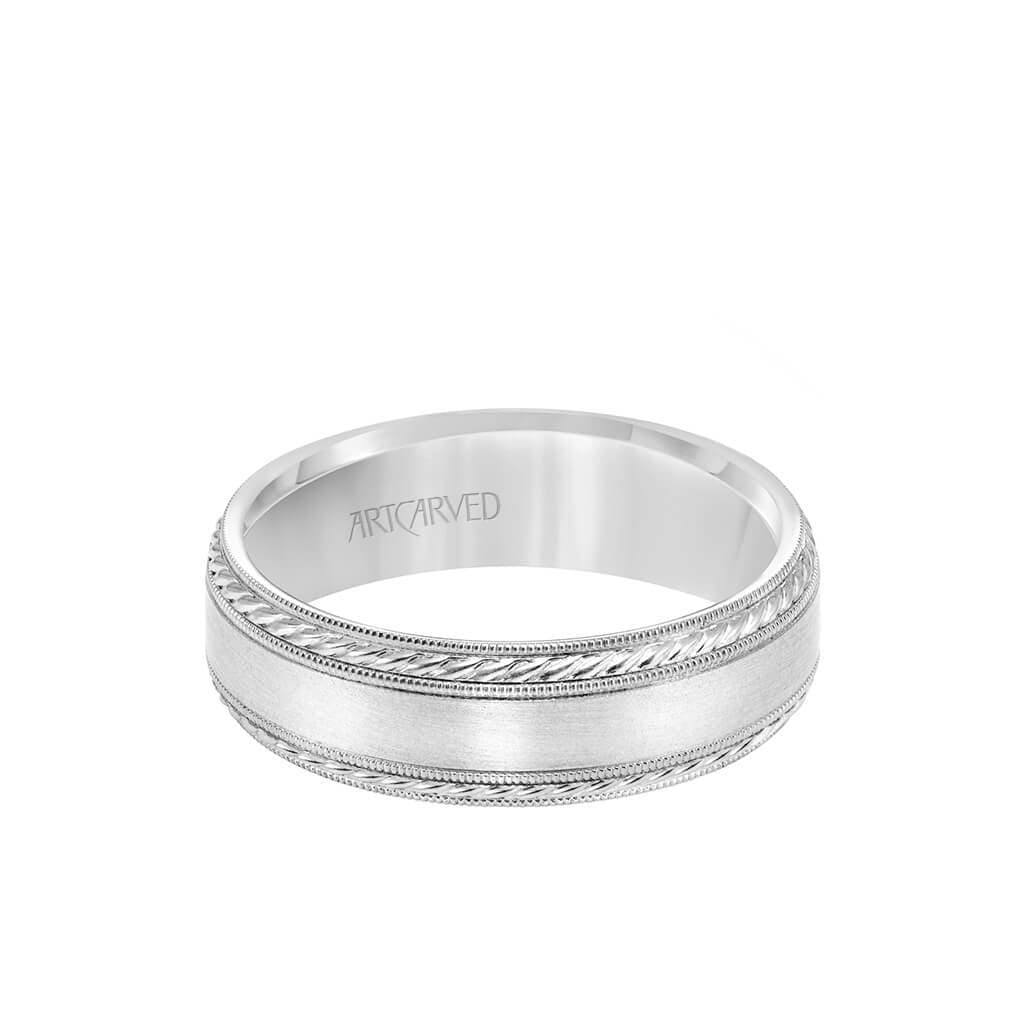 6.5MM Men's Wedding Band - Satin Finish with Rope and Milgrain Accents and Milgrain Edge