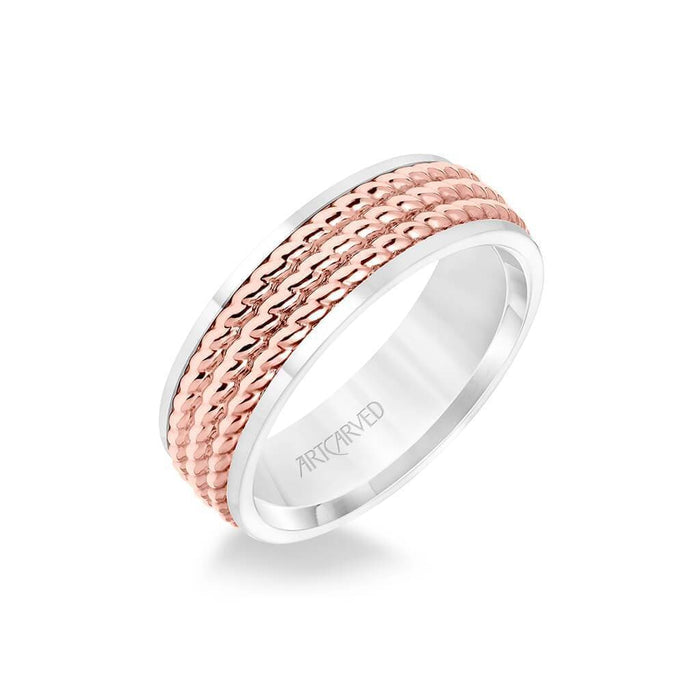 7MM Men's Wedding Band - Polished Finish with Triple Rope Inlay and Polished Edge