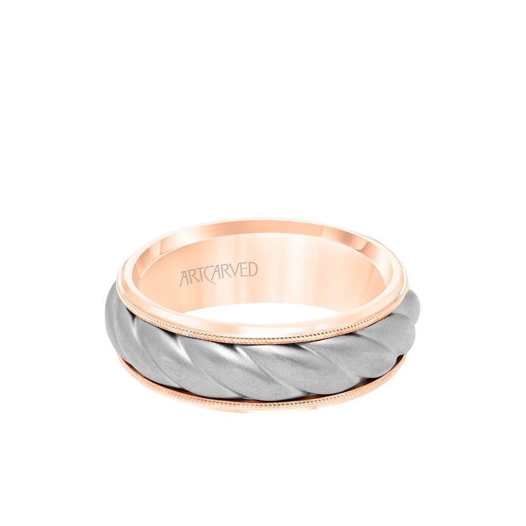 7MM Men's Wedding Band - Soft Sand Finish with Oversize Rope Inlay and Milgrain Edge