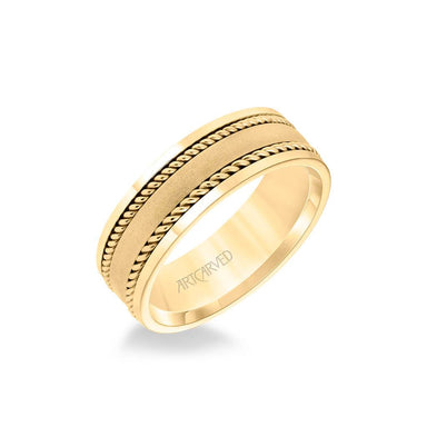 7MM Men's Wedding Band - Satin Finish with Rope Inlay and Polished Edge