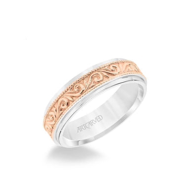 6.5MM Men's Wedding Band - Engraved Paisley Design with Milgrain Detail and Round Edge