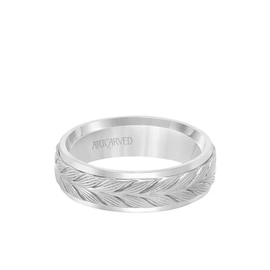6.5MM Men's Wedding Band - Textured Leaf Design with Round Edge