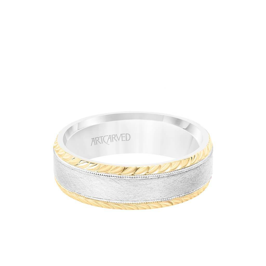 7MM Men's Wedding Band - Cyrstalline Finish with Milgrain and Leaf Design Bevel Edge