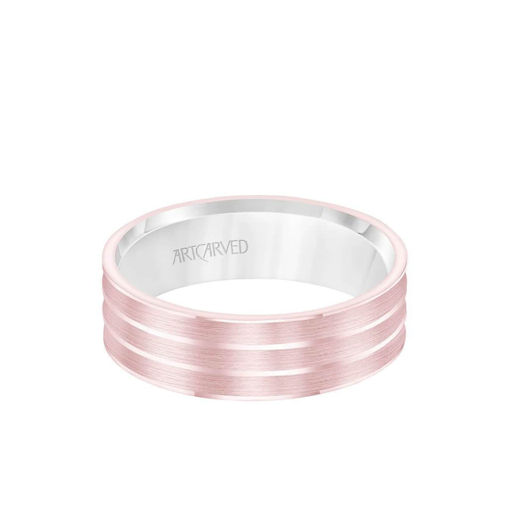 6.5MM Men's Wedding Band - White Gold Brush Finish with Rose Gold Cut Center with Rose Gold Interior and Round Edge