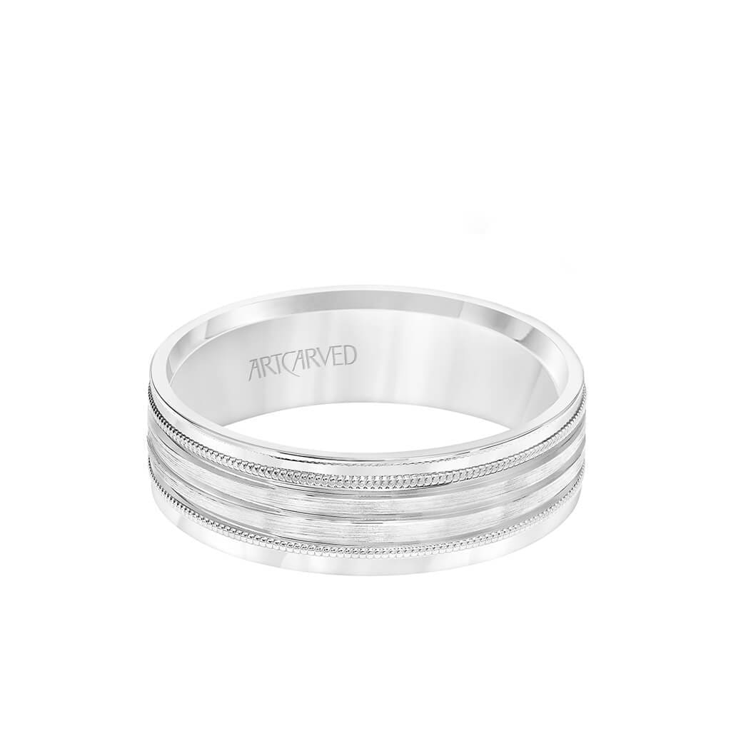 6MM Men's Wedding Band - Brush Finish with Polished Cuts and Milgrain Accents with Yellow Gold Interior and Flat Edge