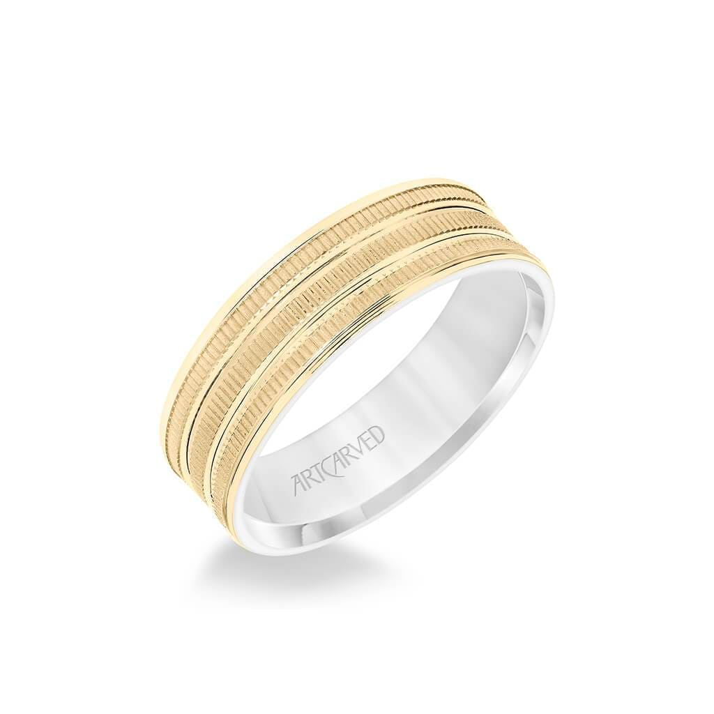 6.5MM Men's Wedding Band - Yellow Gold Coin Finish with Flat Cuts with White Gold Interior and Flat Edge
