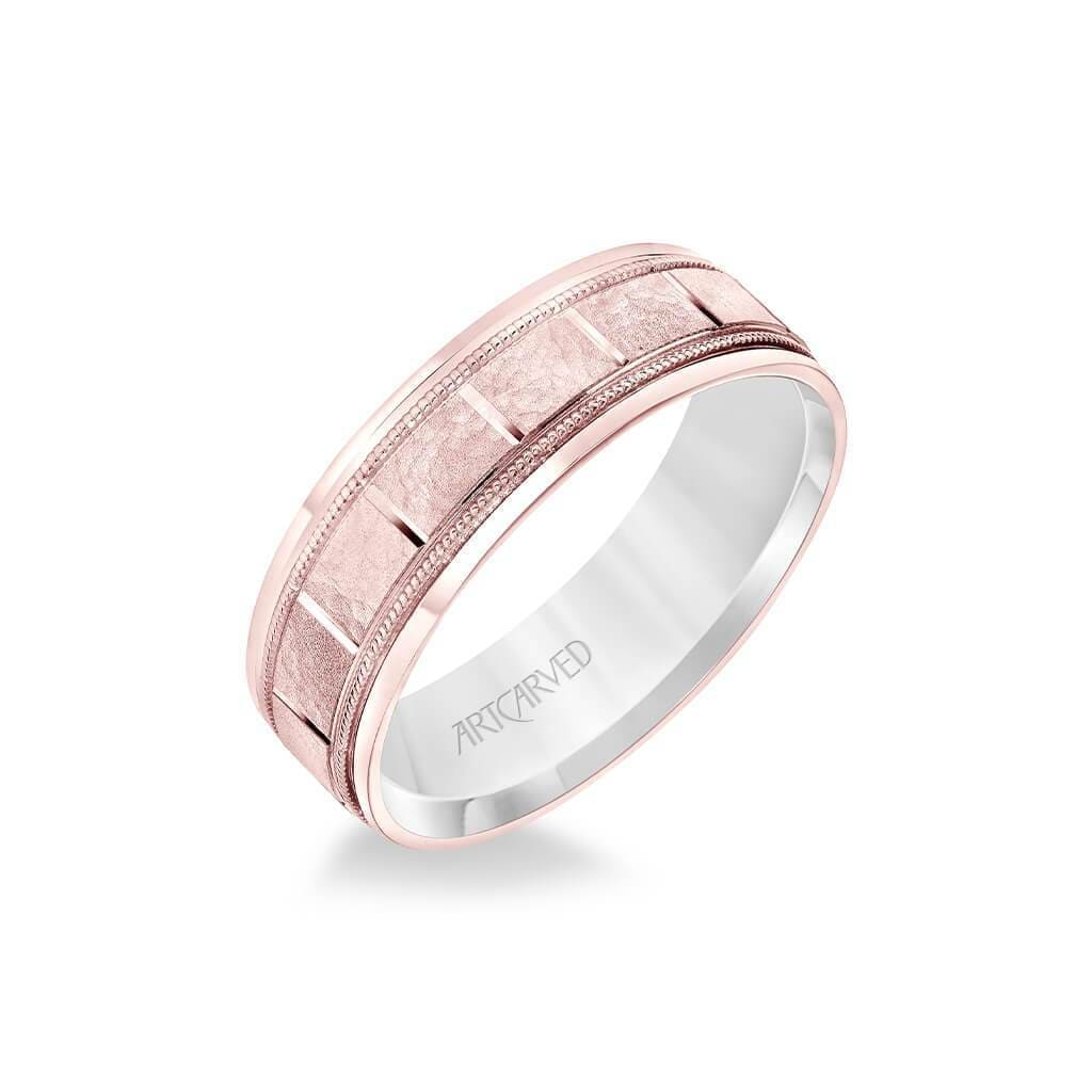 6.5MM Men's Wedding Band - White Gold Stone Finish with Vertical Cut Center with Milgrain Accents with Rose Gold Interior and Round Edge