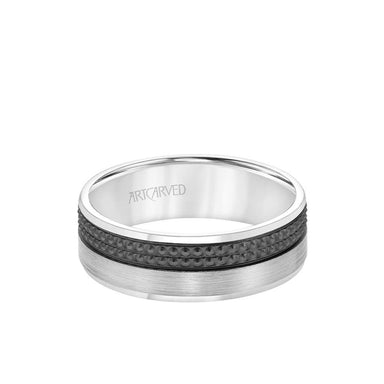 7MM Men's Wedding Band - Brush Finish with Textured Black Rhodium and Flat Edge