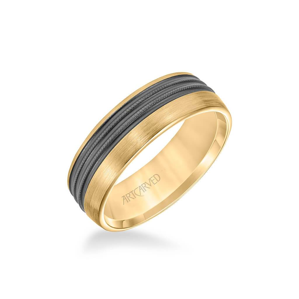 7MM Men's Wedding Band - Brush Matte Finish with Textured Black Rhodium and Milgrain Accents and Flat Edge