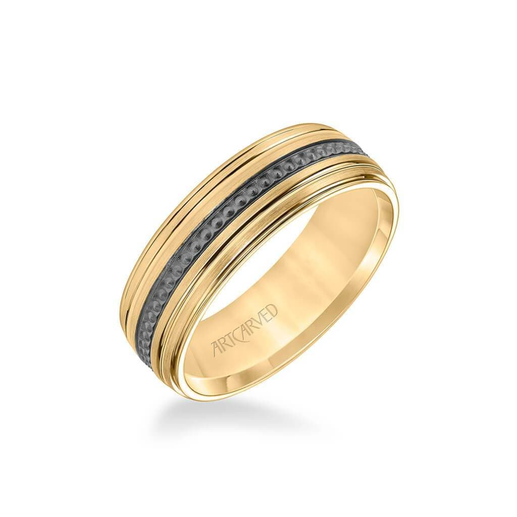 7MM Men's Wedding Band - Brush Finish with Textured Black Rhodium with Polished Lines and Round Edge