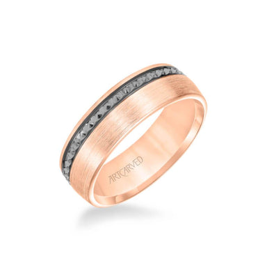 7MM Men's Wedding Band - Satin Soft Sand Finish with Textured Black Rhodium and Flat Edge