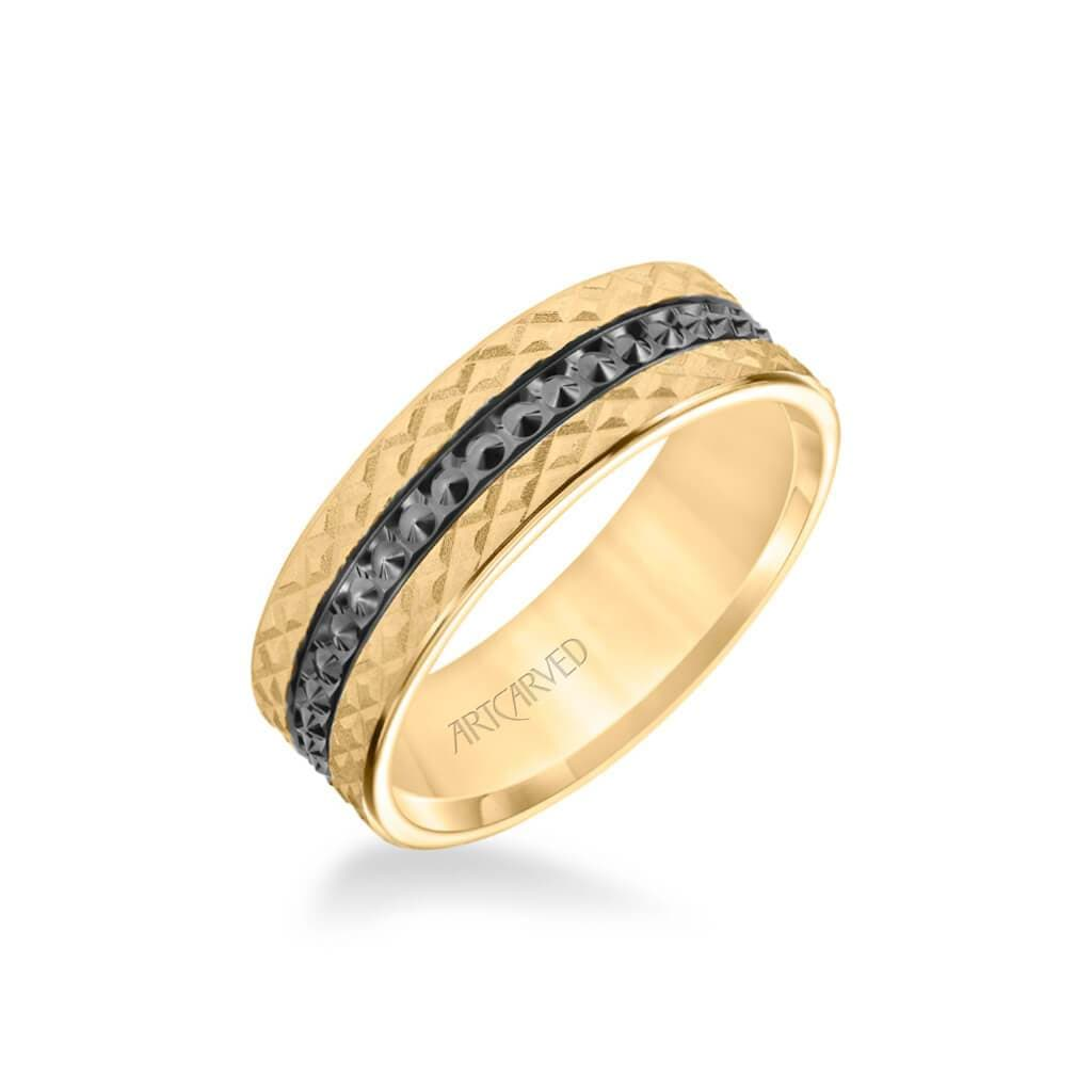 7MM Men's Wedding Band - Criss Cross Satin Soft Sand Engraved Design with Textured Black Rhodium and Flat Edge