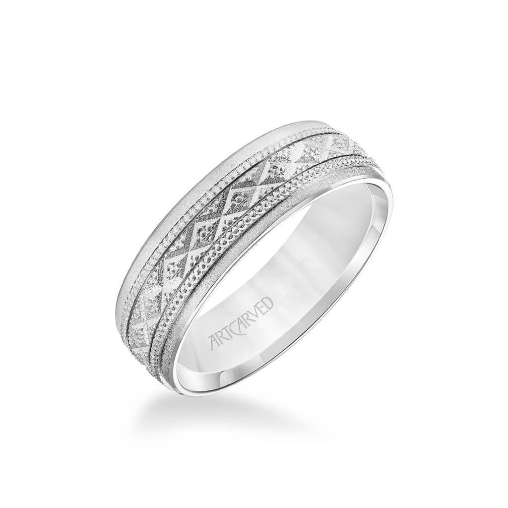 6.5MM Men's Wedding Band - Soft Sand Finish with Swiss Cut X Design with Milgrain and Flat Edge