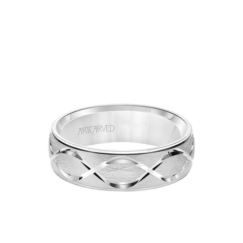 6.5MM Men's Wedding Band - Chyrstalline Finish with Swiss Cut Infinity Design and Round Edge