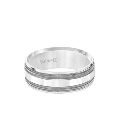 7.5MM Men's Wedding Band - Brush Matte Finish with Black Rhodium and Bevel Edge